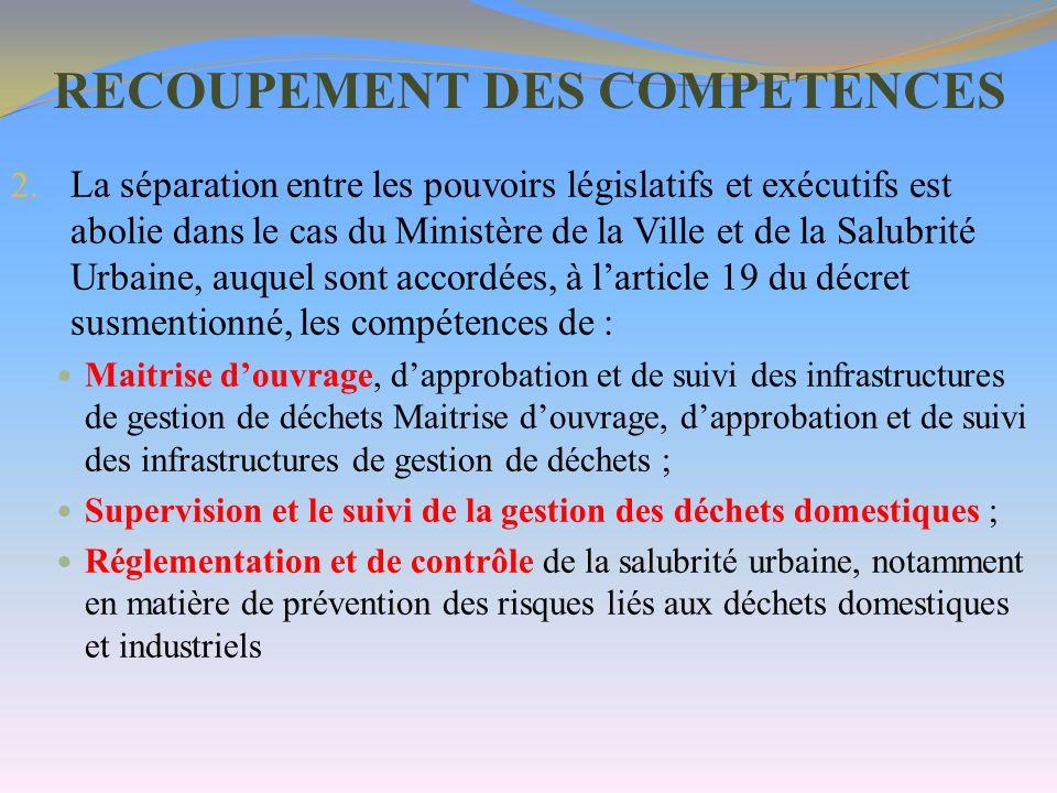 RECOUPEMENT DES COMPETENCES 2. La séparation entre les pouvoirs législatifs et exécutifs est abolie dans le cas du Ministère de la Ville et de la Salu
