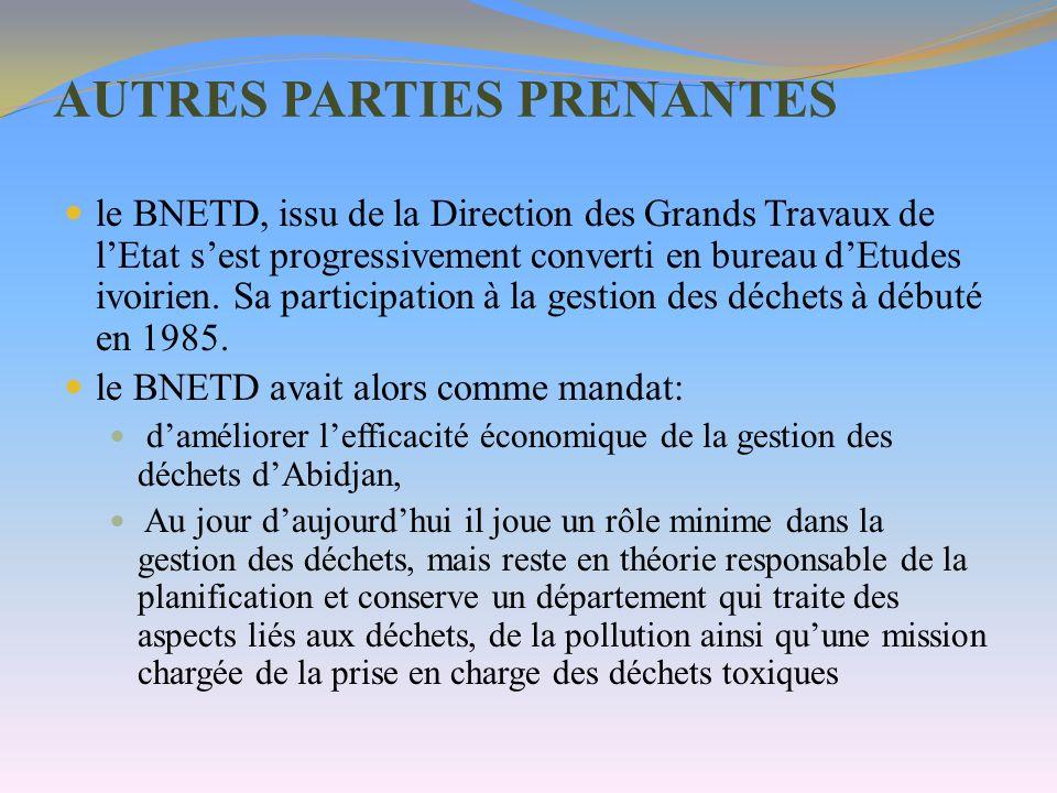 AUTRES PARTIES PRENANTES le BNETD, issu de la Direction des Grands Travaux de lEtat sest progressivement converti en bureau dEtudes ivoirien. Sa parti