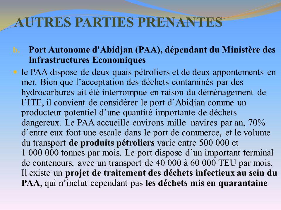 AUTRES PARTIES PRENANTES b. Port Autonome d'Abidjan (PAA), dépendant du Ministère des Infrastructures Economiques le PAA dispose de deux quais pétroli