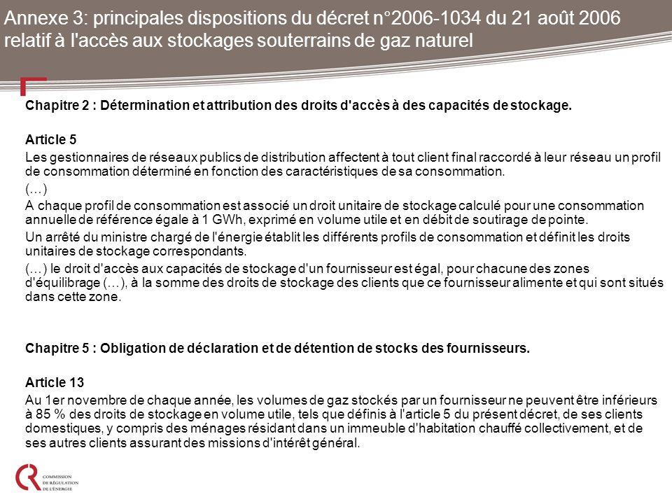 Chapitre 2 : Détermination et attribution des droits d'accès à des capacités de stockage. Article 5 Les gestionnaires de réseaux publics de distributi