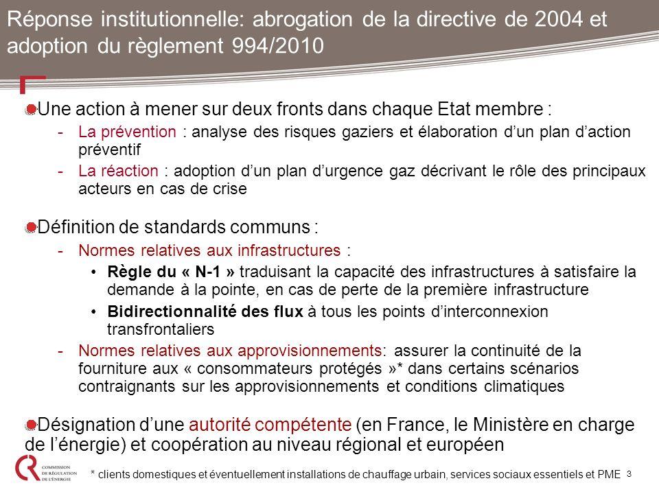 Une action à mener sur deux fronts dans chaque Etat membre : -La prévention : analyse des risques gaziers et élaboration dun plan daction préventif -L