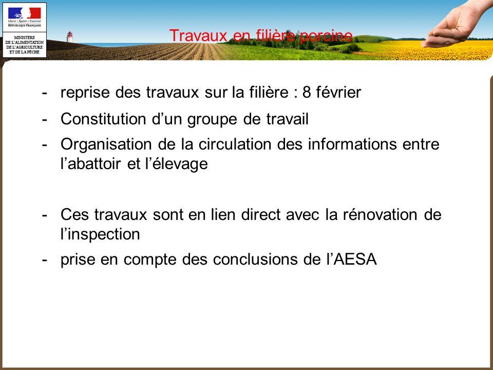 -reprise des travaux sur la filière : 8 février -Constitution dun groupe de travail -Organisation de la circulation des informations entre labattoir e