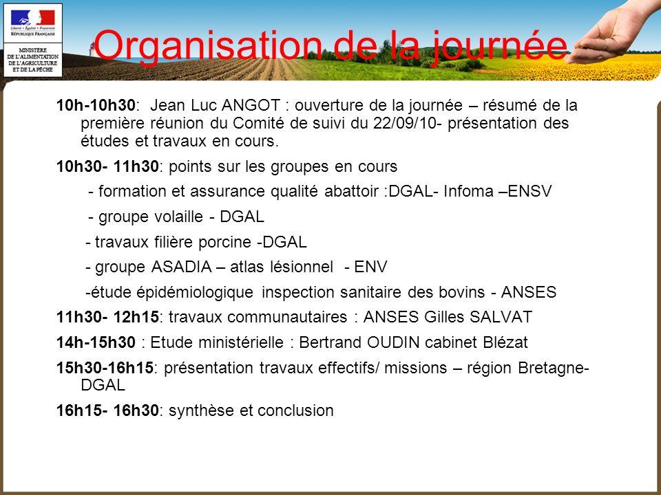 Organisation de la journée 10h-10h30: Jean Luc ANGOT : ouverture de la journée – résumé de la première réunion du Comité de suivi du 22/09/10- présent