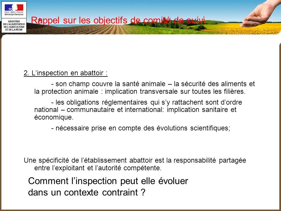 2. Linspection en abattoir : - son champ couvre la santé animale – la sécurité des aliments et la protection animale : implication transversale sur to