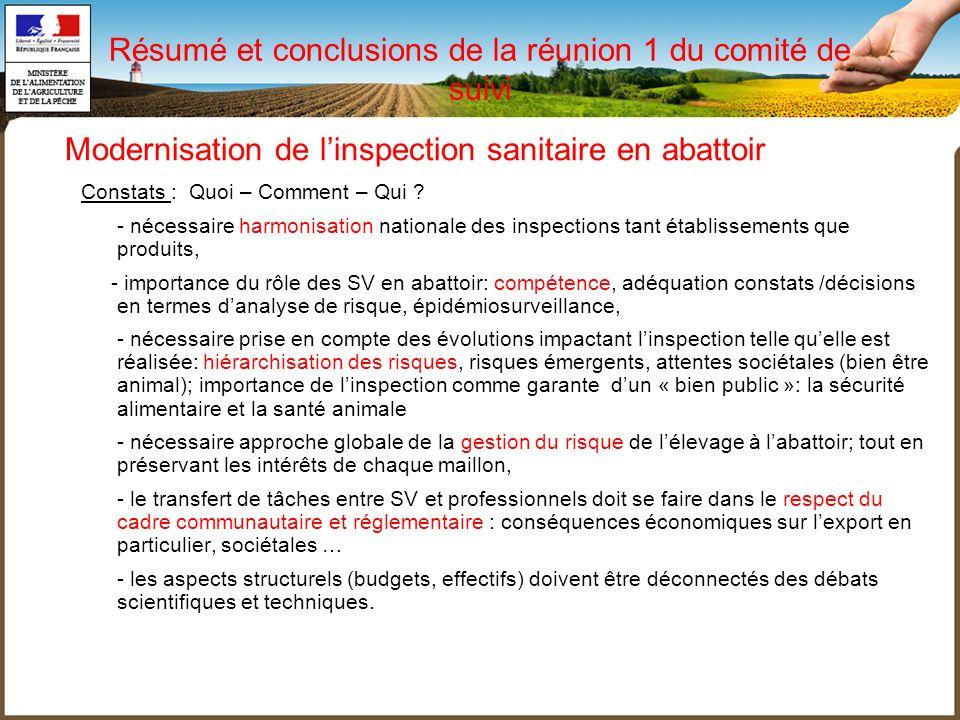 Résumé et conclusions de la réunion 1 du comité de suivi Constats : Quoi – Comment – Qui ? - nécessaire harmonisation nationale des inspections tant é