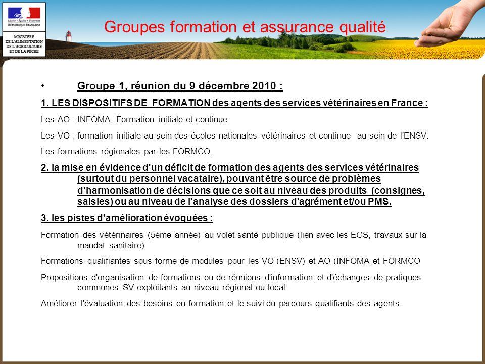 Groupes formation et assurance qualité Groupe 1, réunion du 9 décembre 2010 : 1. LES DISPOSITIFS DE FORMATION des agents des services vétérinaires en