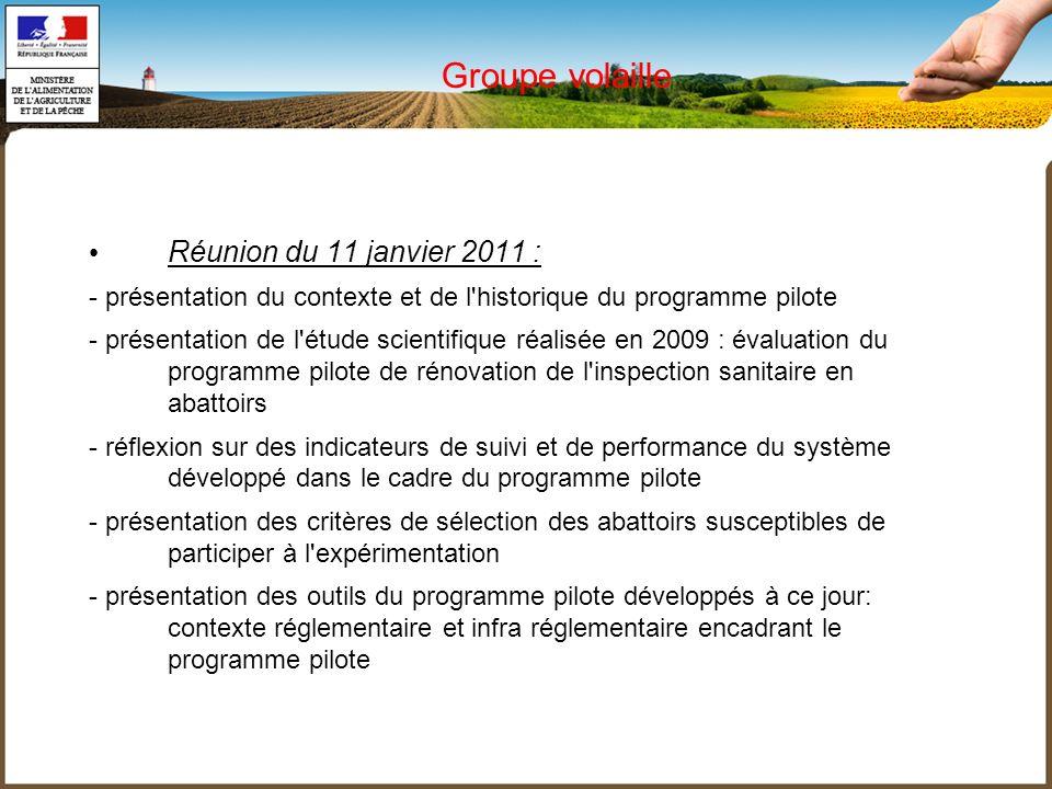 Groupe volaille Réunion du 11 janvier 2011 : - présentation du contexte et de l'historique du programme pilote - présentation de l'étude scientifique