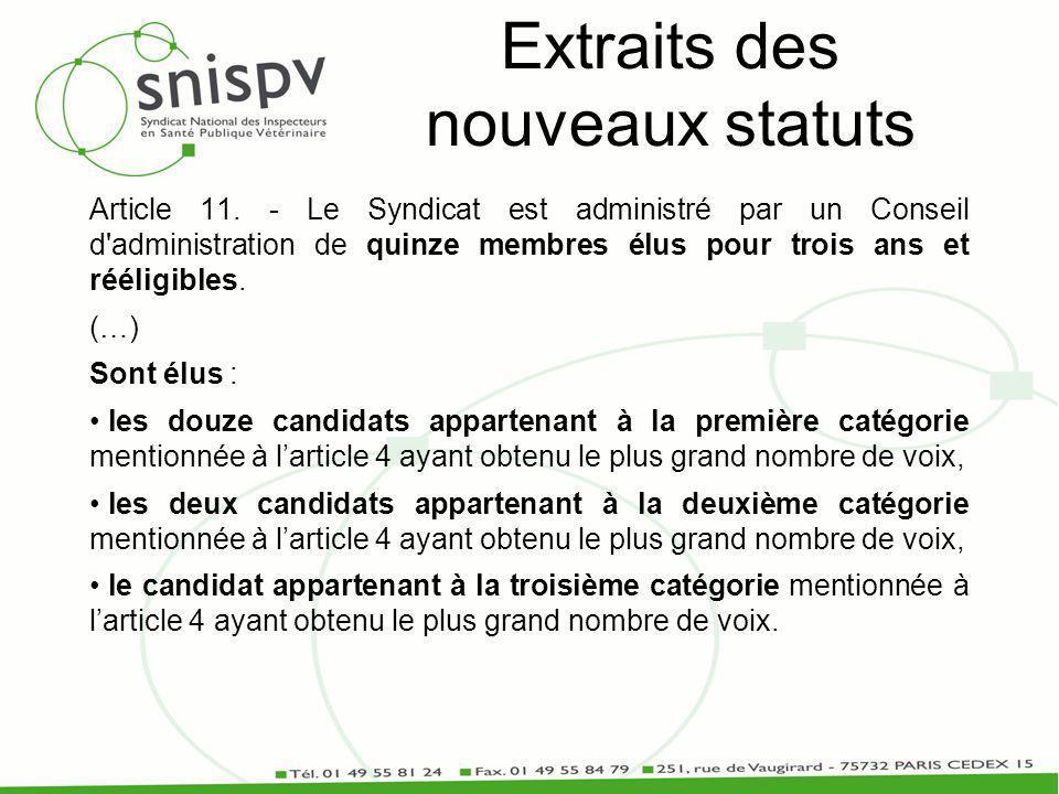 Extraits des nouveaux statuts Article 11.