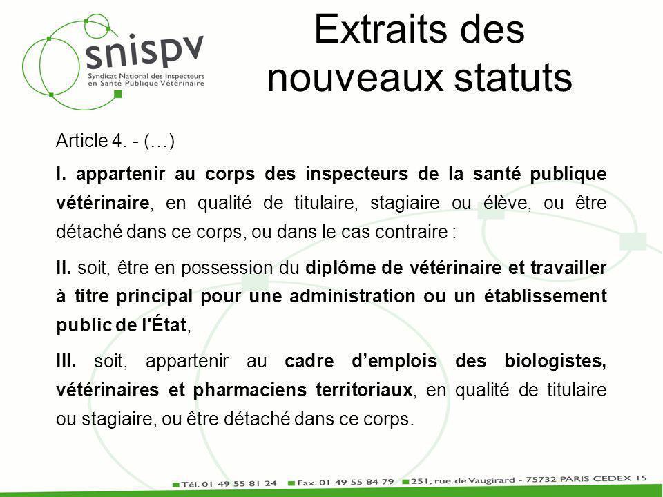 Extraits des nouveaux statuts Article 4. - (…) I.