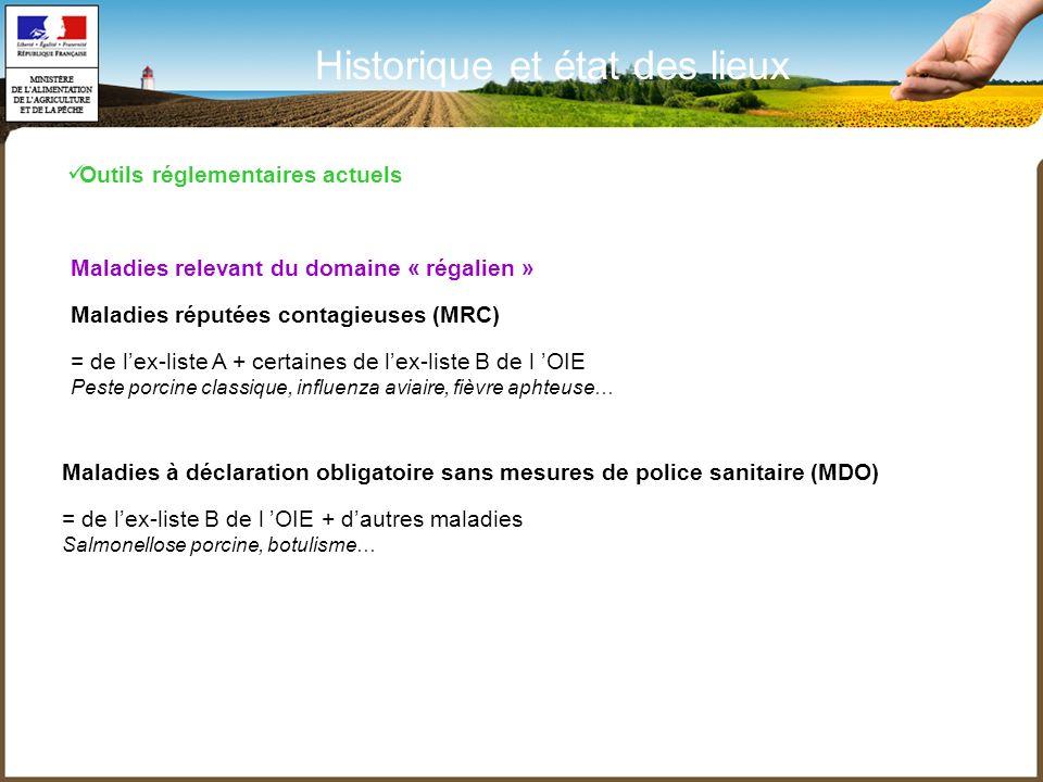Maladies relevant du domaine « régalien » Maladies réputées contagieuses (MRC) = de lex-liste A + certaines de lex-liste B de l OIE Peste porcine clas