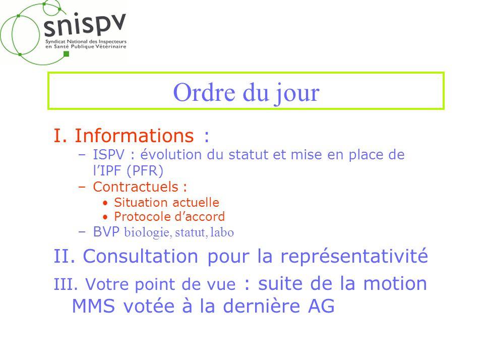 Ordre du jour I. Informations : –ISPV : évolution du statut et mise en place de lIPF (PFR) –Contractuels : Situation actuelle Protocole daccord –BVP b