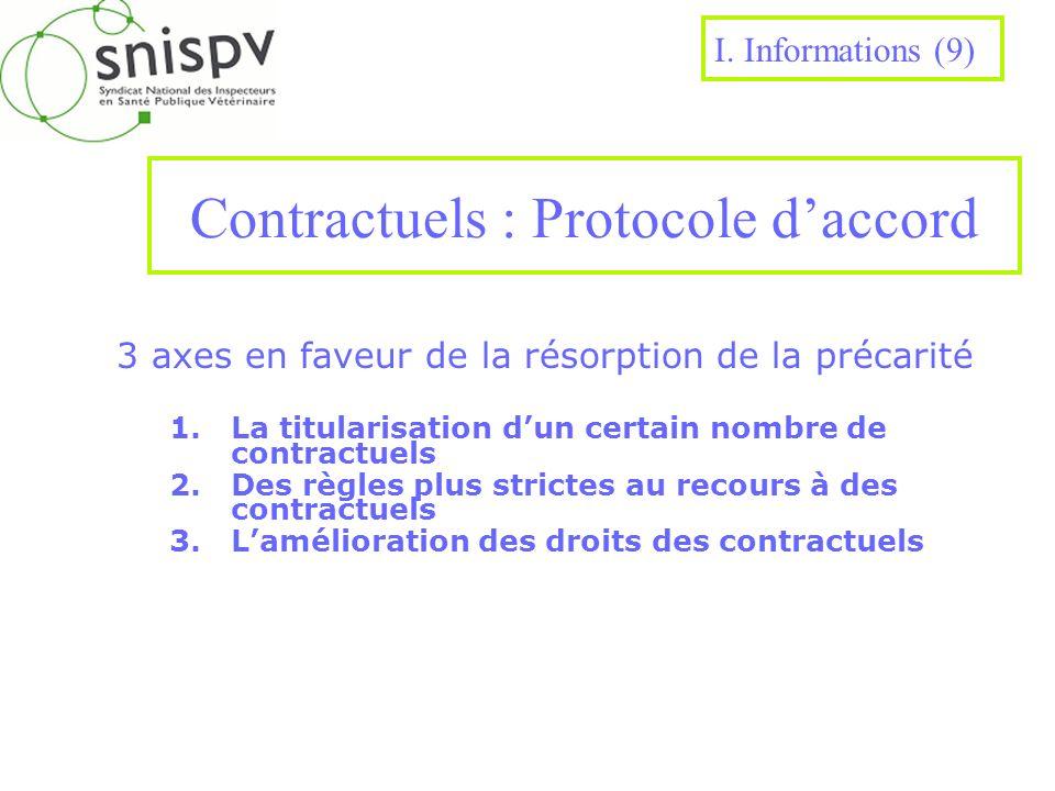 Contractuels : Protocole daccord 3 axes en faveur de la résorption de la précarité 1.La titularisation dun certain nombre de contractuels 2.Des règles