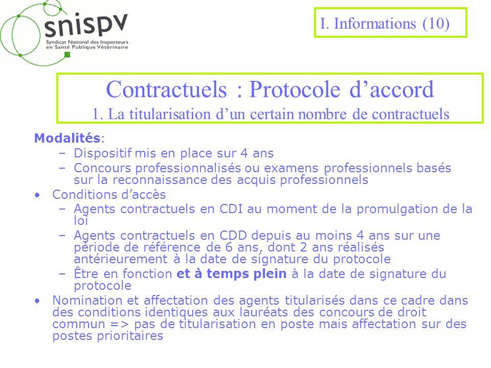 Contractuels : Protocole daccord 1. La titularisation dun certain nombre de contractuels Modalités: –Dispositif mis en place sur 4 ans –Concours profe