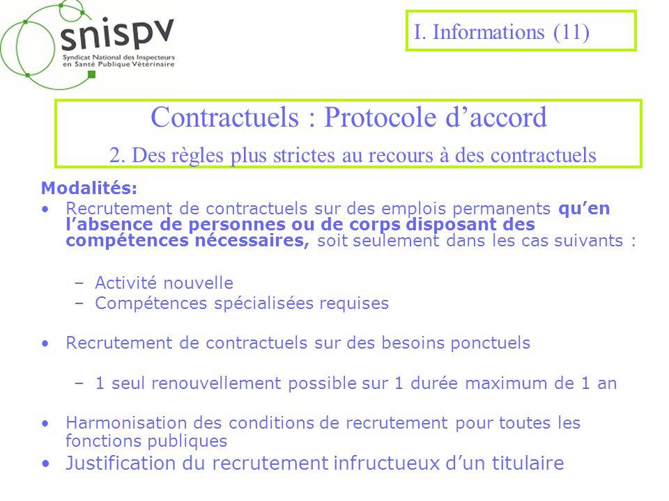 Contractuels : Protocole daccord 2. Des règles plus strictes au recours à des contractuels Modalités: Recrutement de contractuels sur des emplois perm