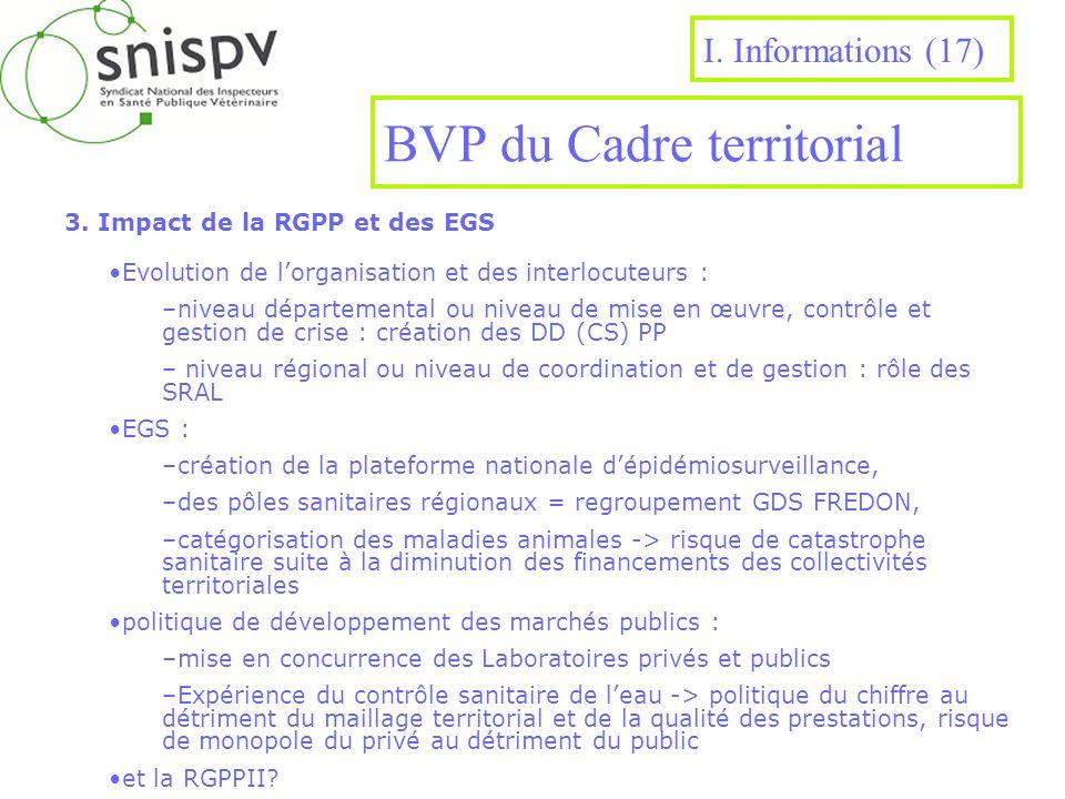 BVP du Cadre territorial 3. Impact de la RGPP et des EGS I. Informations (17) Evolution de lorganisation et des interlocuteurs : –niveau départemental