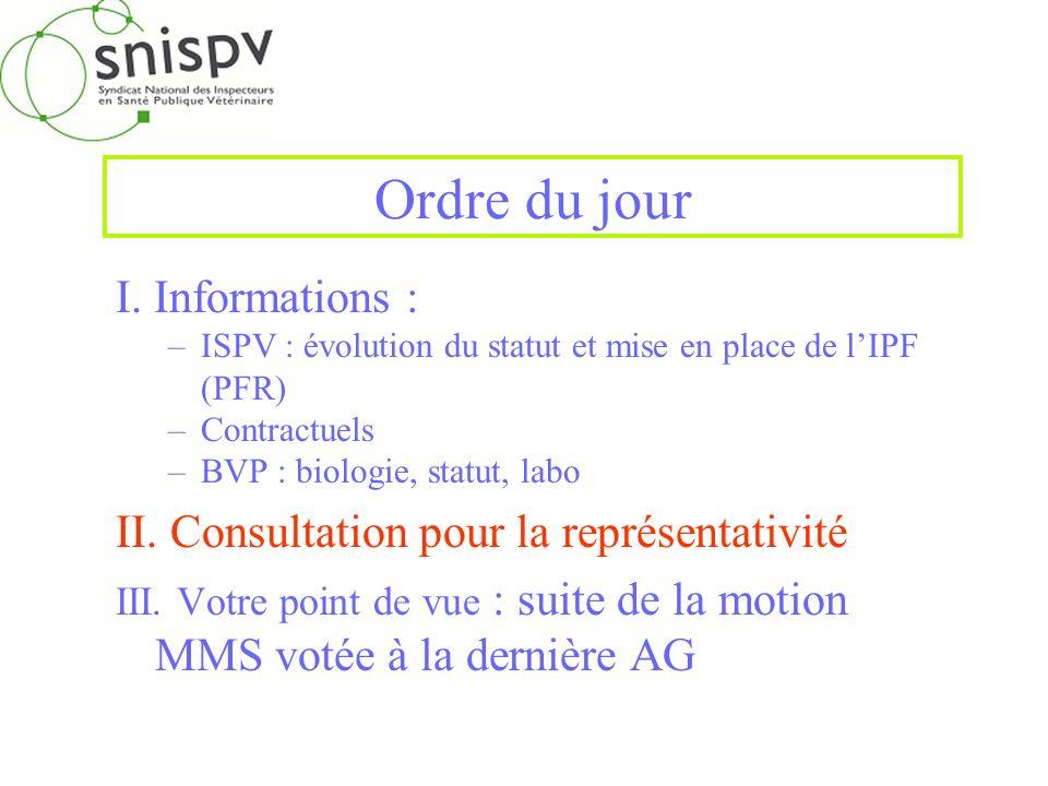 Ordre du jour I. Informations : –ISPV : évolution du statut et mise en place de lIPF (PFR) –Contractuels –BVP : biologie, statut, labo II. Consultatio