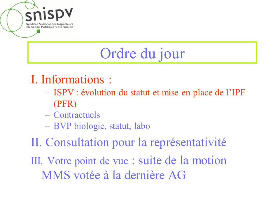 Ordre du jour I. Informations : –ISPV : évolution du statut et mise en place de lIPF (PFR) –Contractuels –BVP biologie, statut, labo II. Consultation
