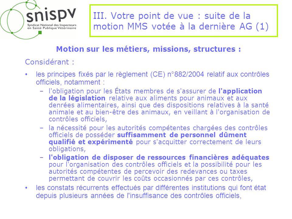 III. Votre point de vue : suite de la motion MMS votée à la dernière AG (1) Motion sur les métiers, missions, structures : Considérant : les principes