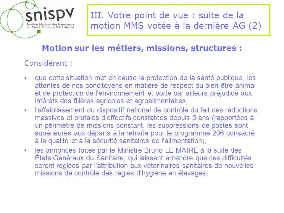 III. Votre point de vue : suite de la motion MMS votée à la dernière AG (2) Motion sur les métiers, missions, structures : Considérant : que cette sit