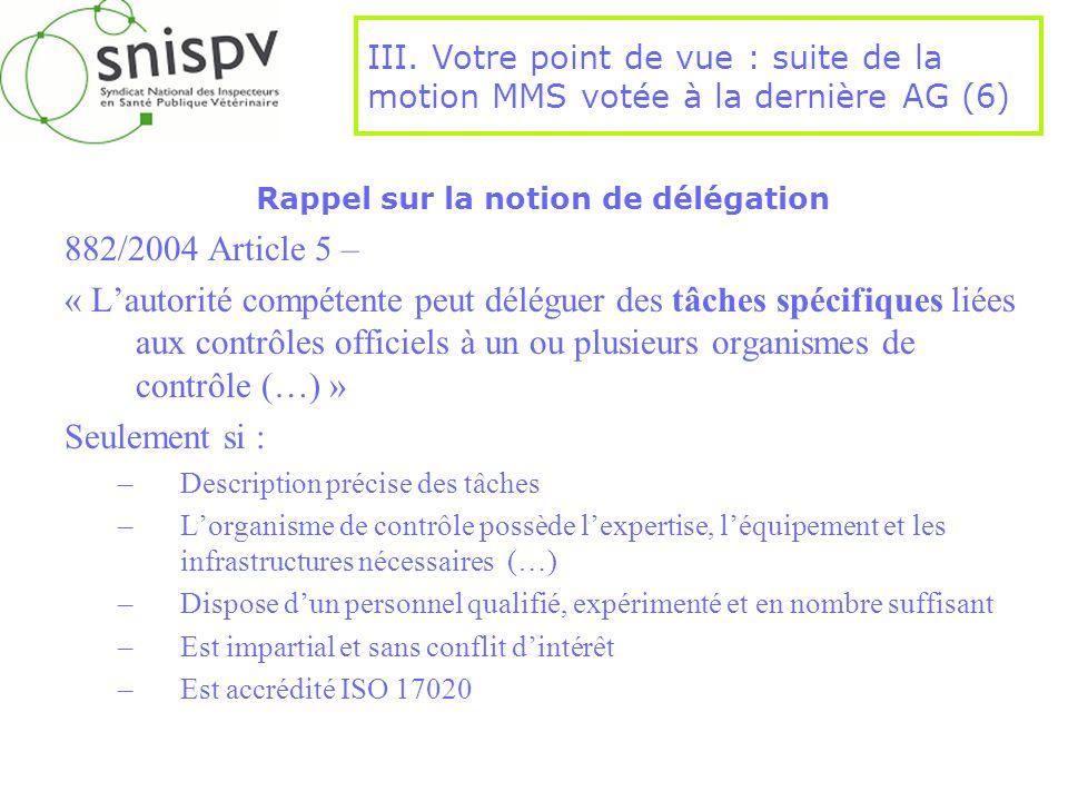 Rappel sur la notion de délégation 882/2004 Article 5 – « Lautorité compétente peut déléguer des tâches spécifiques liées aux contrôles officiels à un
