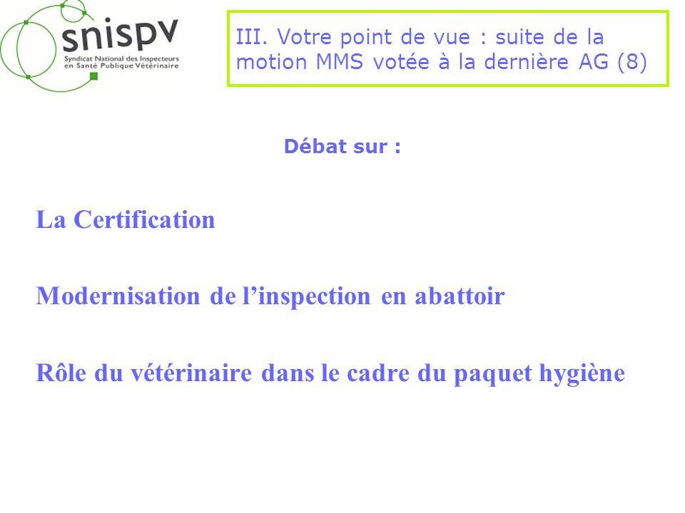 Débat sur : La Certification Modernisation de linspection en abattoir Rôle du vétérinaire dans le cadre du paquet hygiène III. Votre point de vue : su