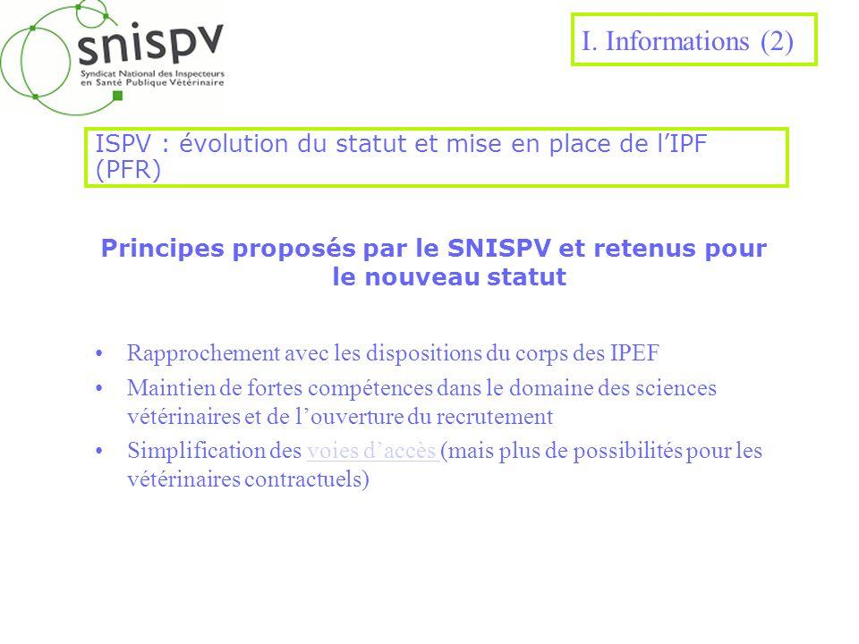 ISPV : évolution du statut et mise en place de lIPF (PFR) Principes proposés par le SNISPV et retenus pour le nouveau statut Rapprochement avec les di