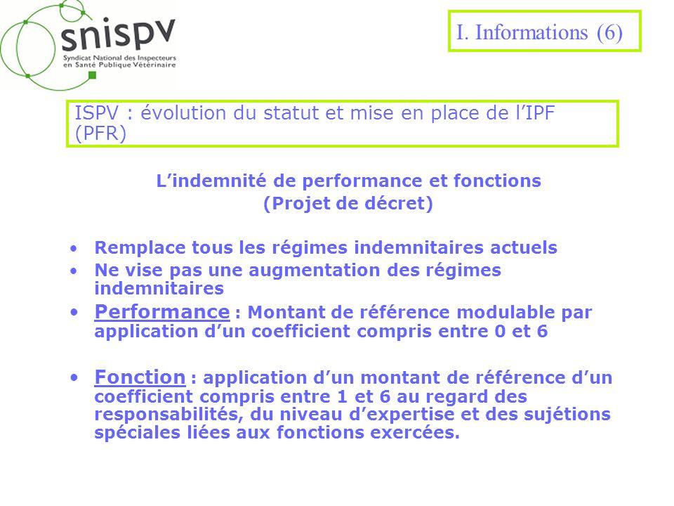 ISPV : évolution du statut et mise en place de lIPF (PFR) Lindemnité de performance et fonctions (Projet de décret) Remplace tous les régimes indemnit