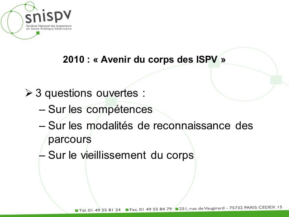 2010 : « Avenir du corps des ISPV » 3 questions ouvertes : –Sur les compétences –Sur les modalités de reconnaissance des parcours –Sur le vieillisseme
