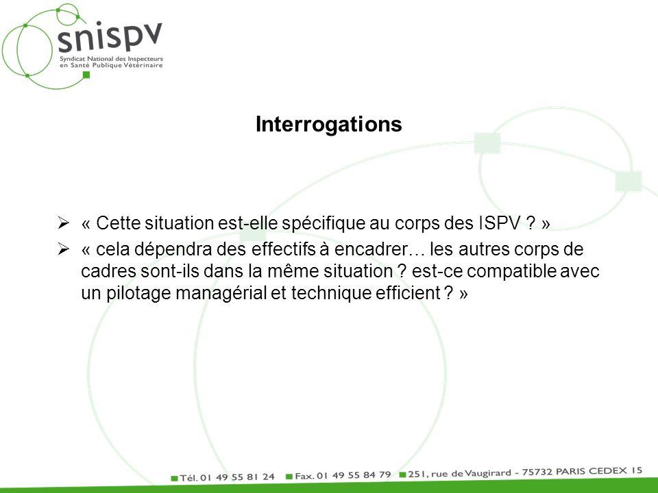 Interrogations « Cette situation est-elle spécifique au corps des ISPV ? » « cela dépendra des effectifs à encadrer… les autres corps de cadres sont-i