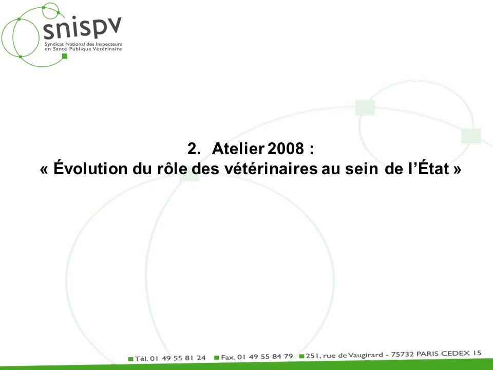 2.Atelier 2008 : « Évolution du rôle des vétérinaires au sein de lÉtat »