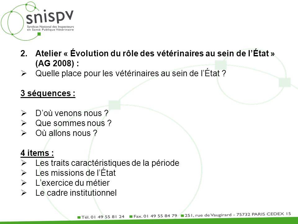 2.Atelier « Évolution du rôle des vétérinaires au sein de lÉtat » (AG 2008) : Quelle place pour les vétérinaires au sein de lÉtat ? 3 séquences : Doù