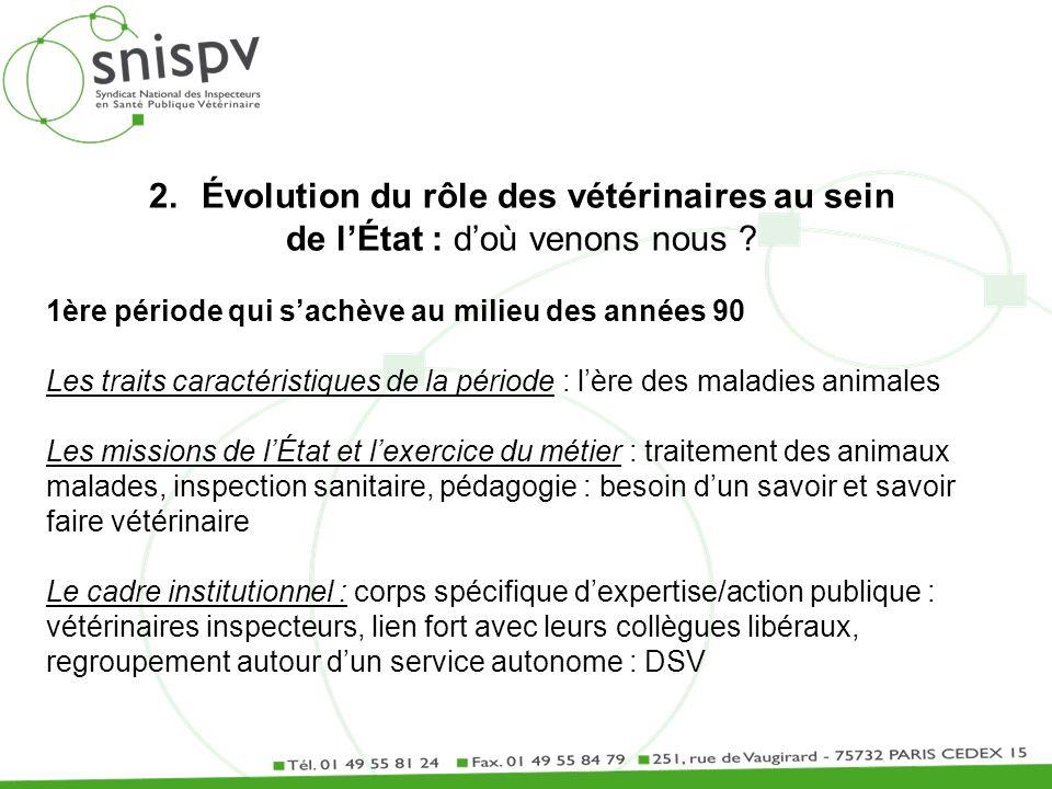 2.Évolution du rôle des vétérinaires au sein de lÉtat : doù venons nous ? 1ère période qui sachève au milieu des années 90 Les traits caractéristiques