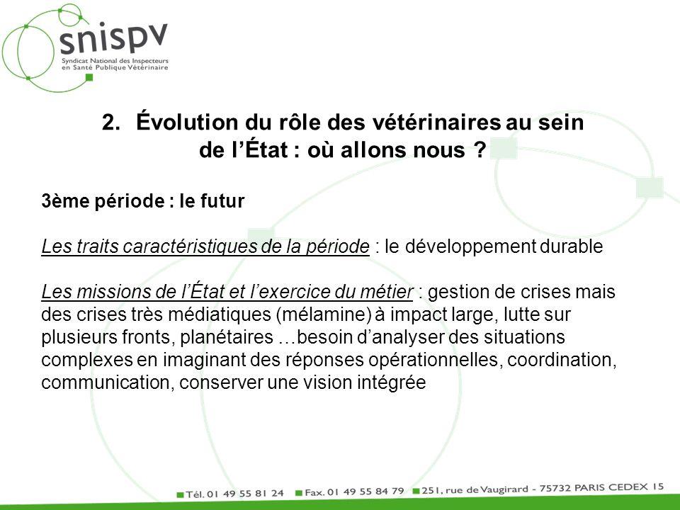 2.Évolution du rôle des vétérinaires au sein de lÉtat : où allons nous ? 3ème période : le futur Les traits caractéristiques de la période : le dévelo