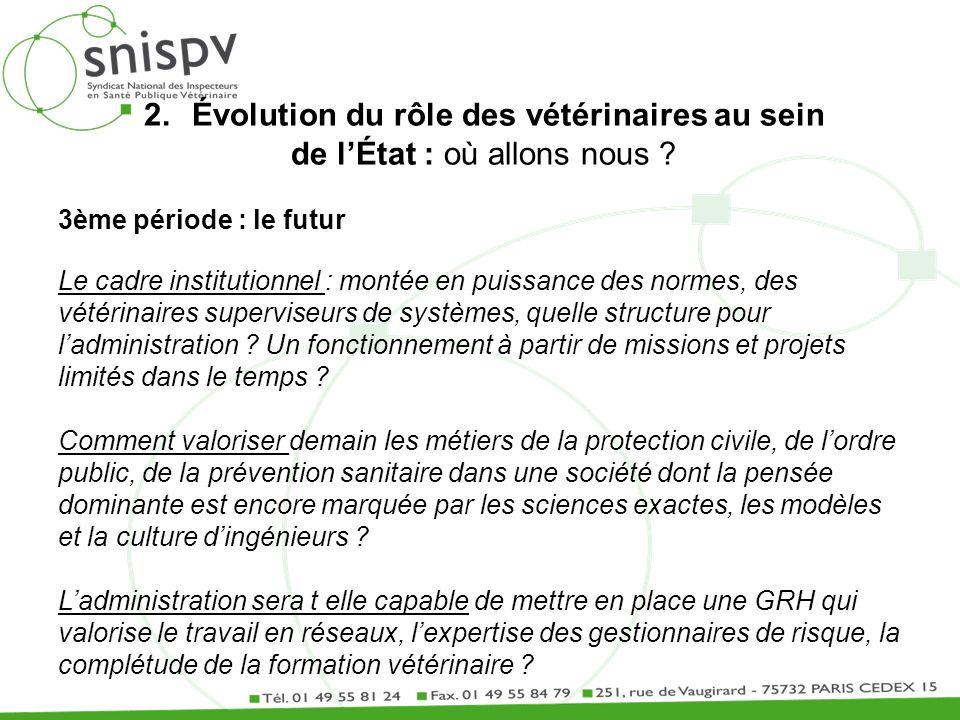 2.Évolution du rôle des vétérinaires au sein de lÉtat : où allons nous ? 3ème période : le futur Le cadre institutionnel : montée en puissance des nor
