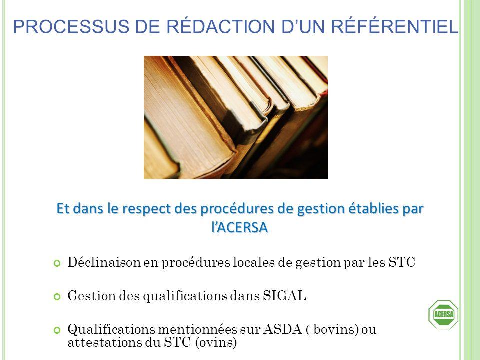 Et dans le respect des procédures de gestion établies par lACERSA Déclinaison en procédures locales de gestion par les STC Gestion des qualifications