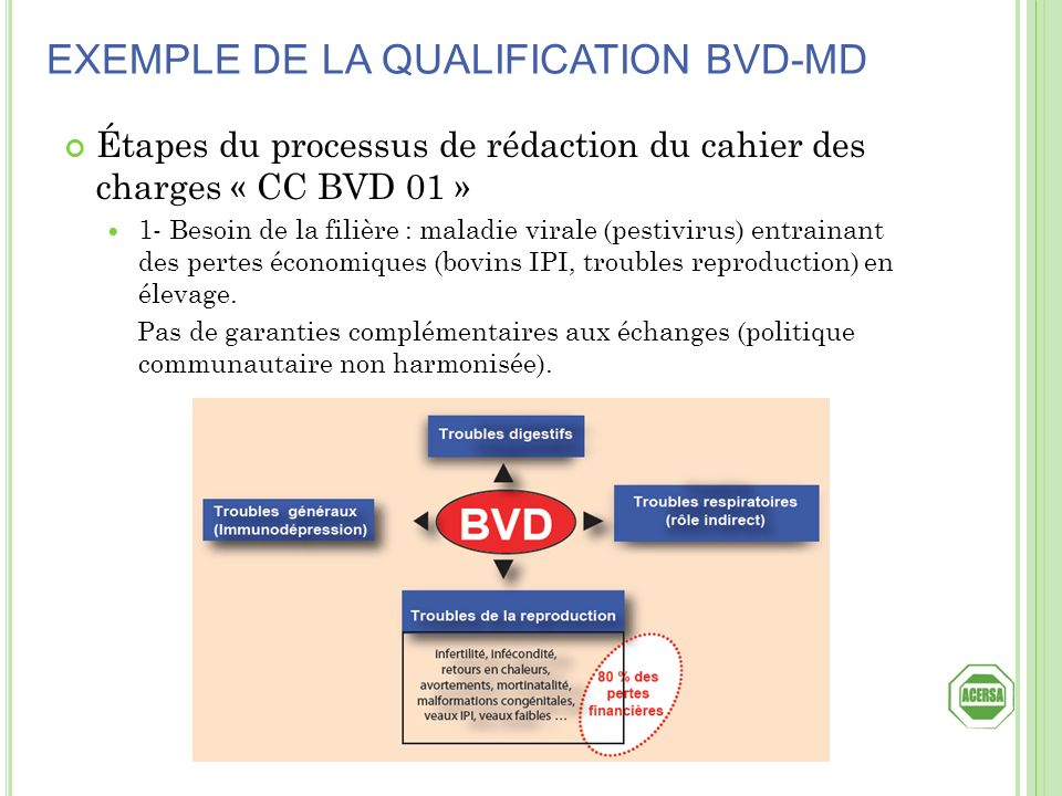 Étapes du processus de rédaction du cahier des charges « CC BVD 01 » 1- Besoin de la filière : maladie virale (pestivirus) entrainant des pertes écono