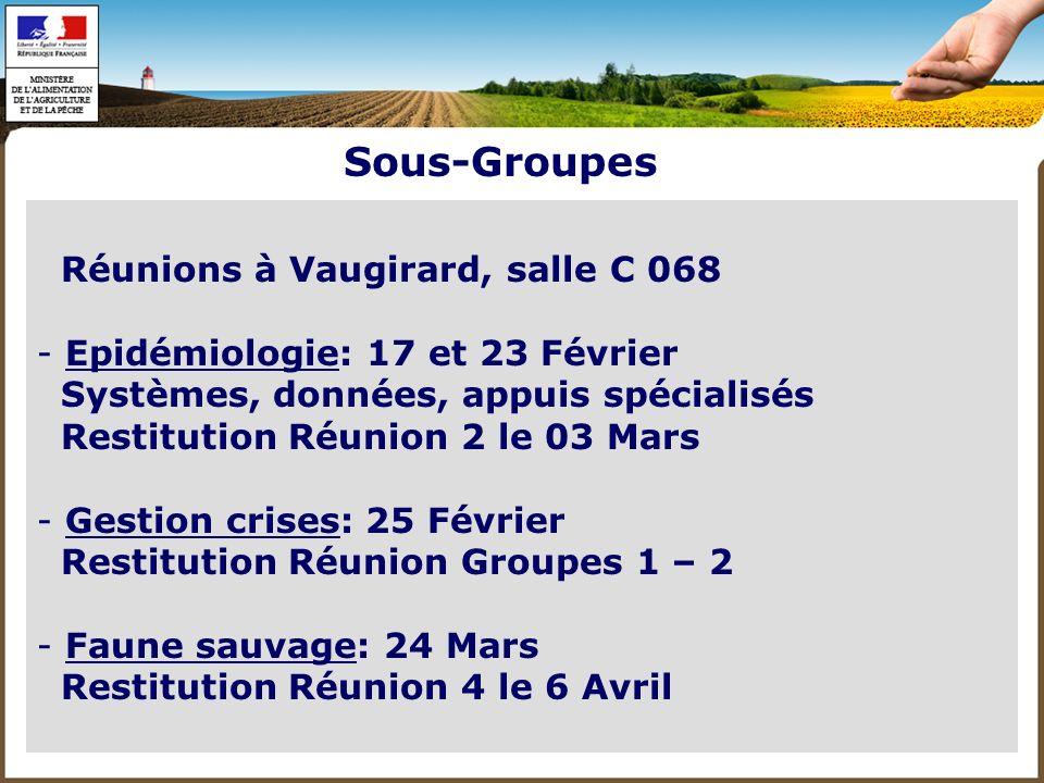 - Emergence: 30 Mars Restitution Réunion 4 le 6 Avril - Formation Vétérinaire: 4 Mars - Formation autres acteurs: 10 Mars - (Méditerranée: 11 Mars) Flexibilité des agendas: changements si besoin Sous-Groupes
