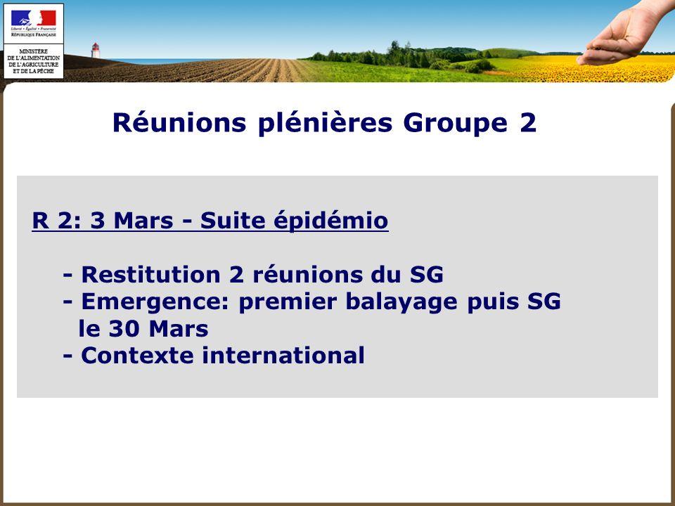R 3: 23 Mars - Plans de lutte: restitution SG - Priorités de recherche Réunions plénières Groupe 2