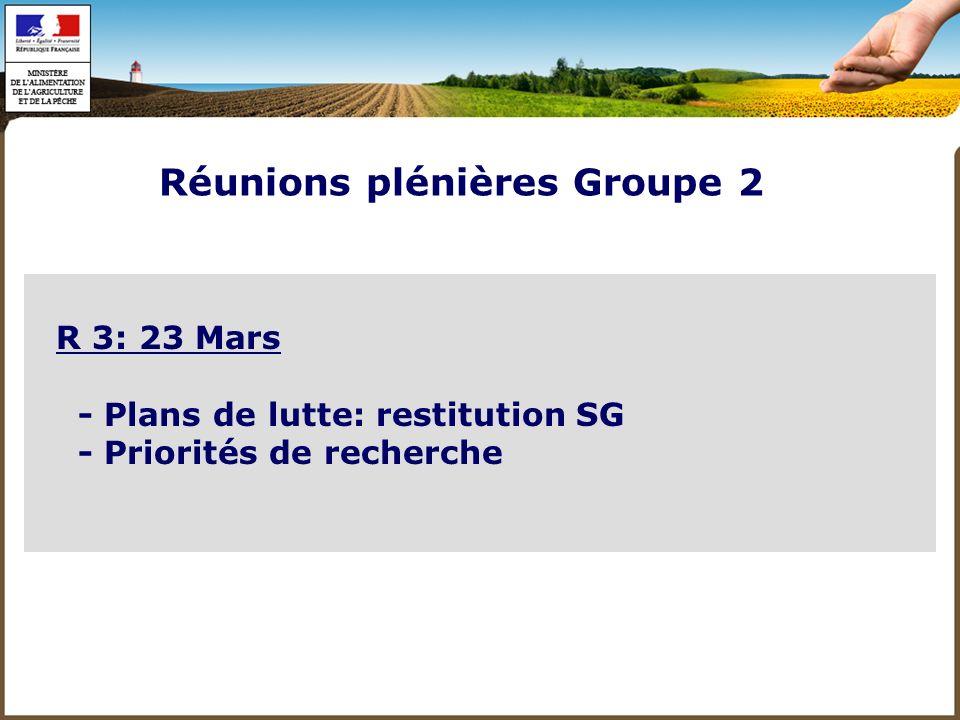 R 4: 6 Avril - Expertise/approches socio économiques - Restitution SG Faune sauvage - Bilan des 4 réunions du Groupe 2 et SG - Conclusions: synthèse, points de convergence, points de désaccord, chantiers à venir Réunions plénières Groupe 2