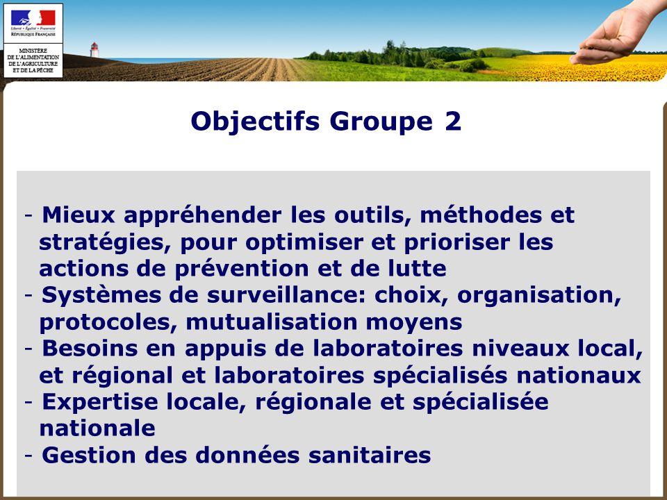 - Préparation des plans de lutte - Mise en œuvre des plans de lutte - Considérer lémergence - Formation - Recherche Objectifs Groupe 2