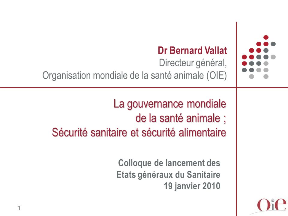 1 Dr Bernard Vallat Directeur général, Organisation mondiale de la santé animale (OIE) La gouvernance mondiale de la santé animale ; Sécurité sanitaire et sécurité alimentaire Colloque de lancement des Etats généraux du Sanitaire 19 janvier 2010