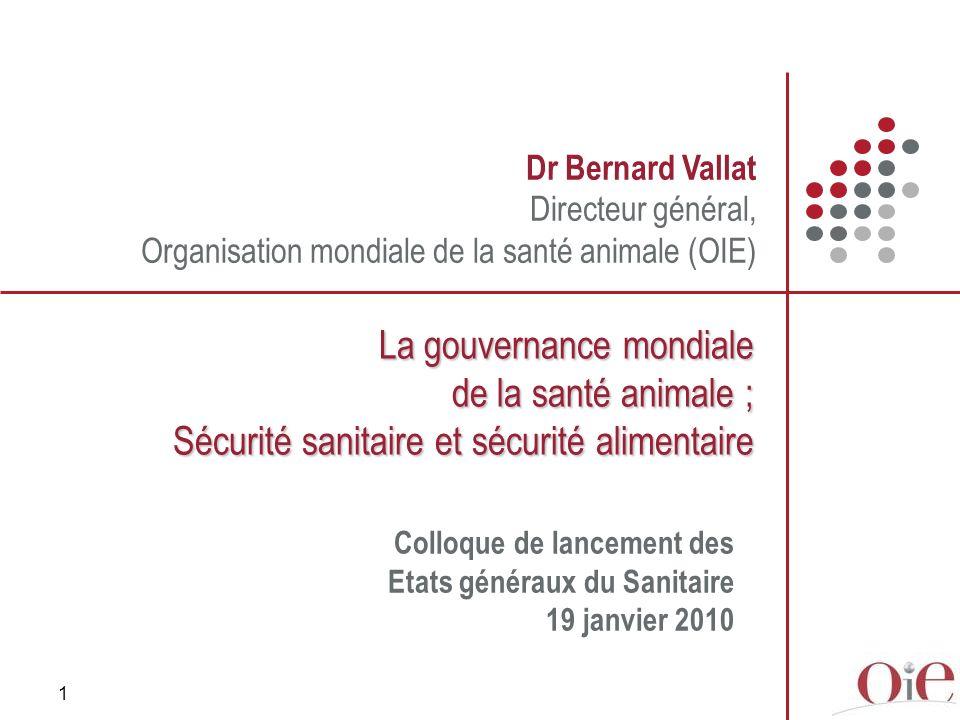 1 Dr Bernard Vallat Directeur général, Organisation mondiale de la santé animale (OIE) La gouvernance mondiale de la santé animale ; Sécurité sanitair