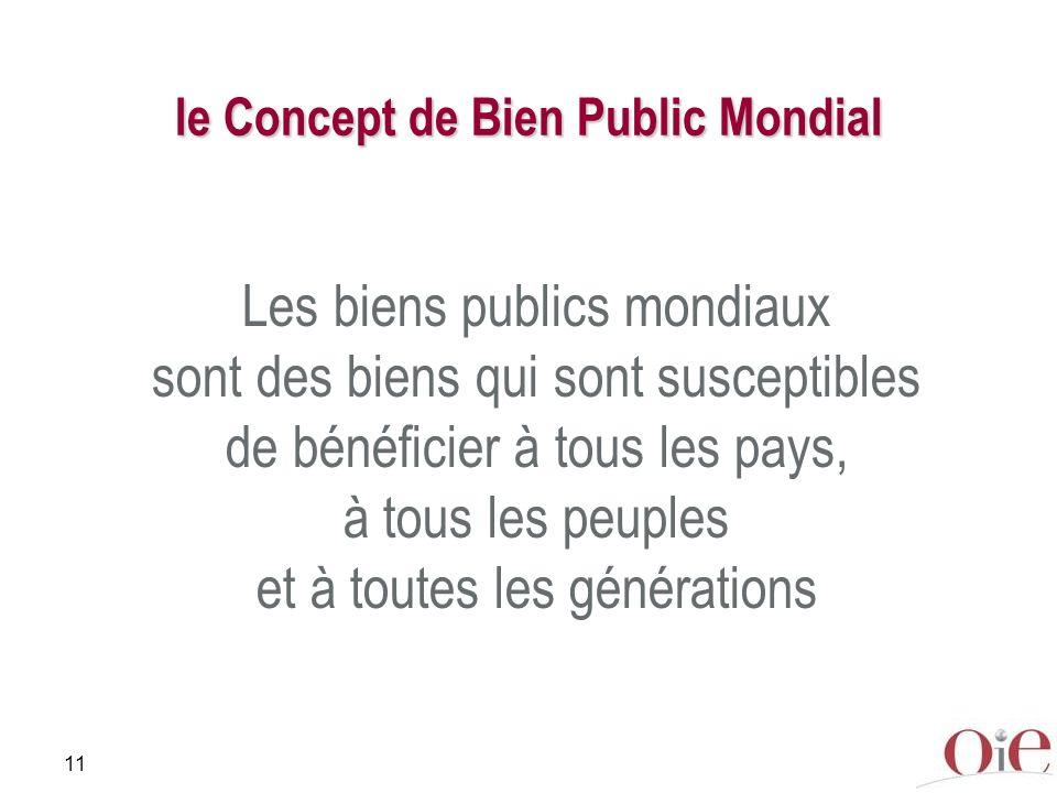 11 le Concept de Bien Public Mondial Les biens publics mondiaux sont des biens qui sont susceptibles de bénéficier à tous les pays, à tous les peuples