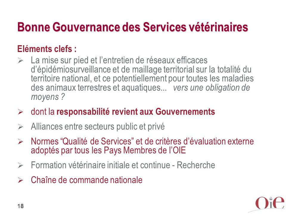 18 Bonne Gouvernance des Services vétérinaires Eléments clefs : La mise sur pied et lentretien de réseaux efficaces dépidémiosurveillance et de mailla