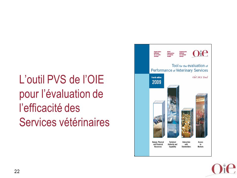 22 Loutil PVS de lOIE pour lévaluation de lefficacité des Services vétérinaires