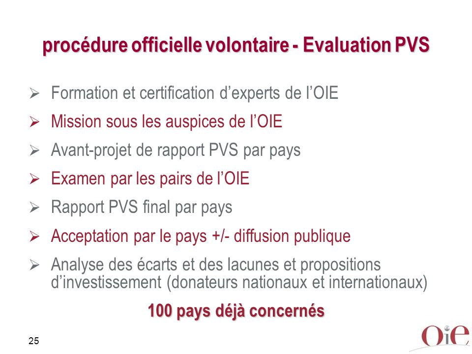 25 procédure officielle volontaire - Evaluation PVS Formation et certification dexperts de lOIE Mission sous les auspices de lOIE Avant-projet de rapport PVS par pays Examen par les pairs de lOIE Rapport PVS final par pays Acceptation par le pays +/- diffusion publique Analyse des écarts et des lacunes et propositions dinvestissement (donateurs nationaux et internationaux) 100 pays déjà concernés