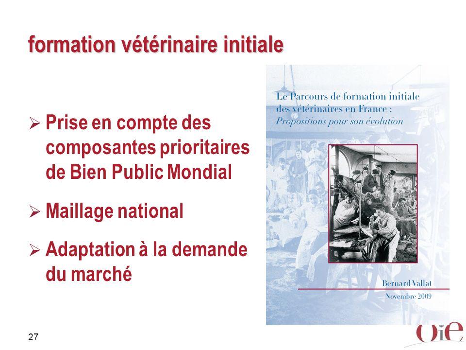 27 formation vétérinaire initiale Prise en compte des composantes prioritaires de Bien Public Mondial Maillage national Adaptation à la demande du mar
