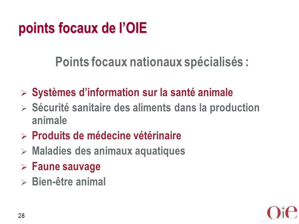 28 points focaux de lOIE Points focaux nationaux spécialisés : Systèmes dinformation sur la santé animale Sécurité sanitaire des aliments dans la prod