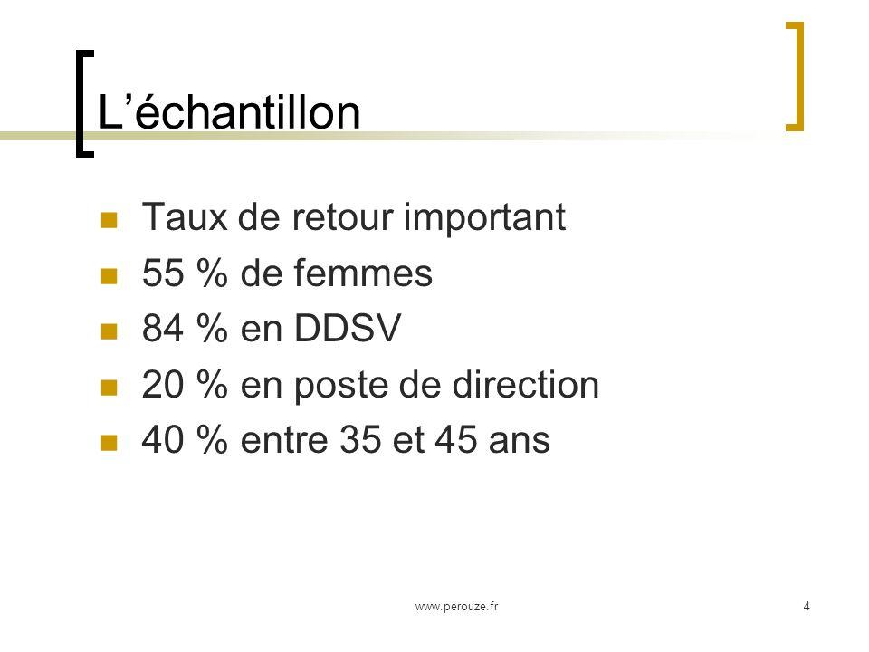 www.perouze.fr4 Léchantillon Taux de retour important 55 % de femmes 84 % en DDSV 20 % en poste de direction 40 % entre 35 et 45 ans