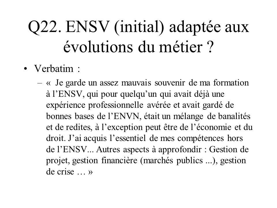 Q22. ENSV (initial) adaptée aux évolutions du métier ? Verbatim : –« Je garde un assez mauvais souvenir de ma formation à lENSV, qui pour quelquun qui